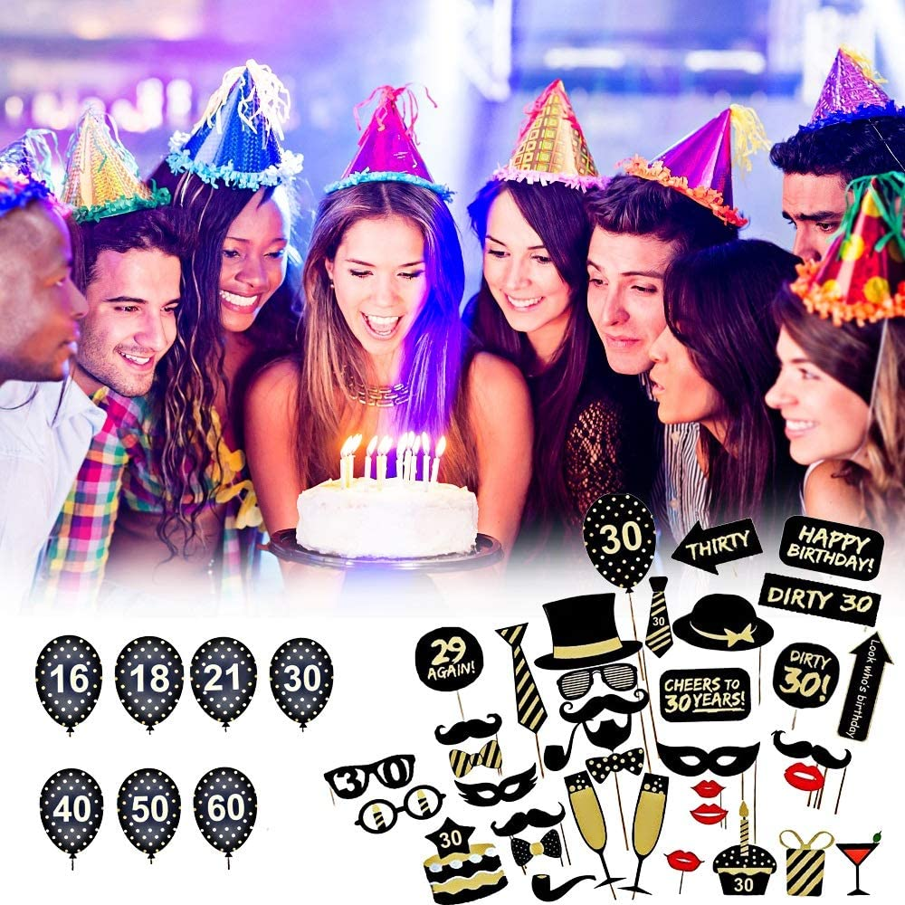 16//18//21st//30//40//50//60th 36pcs Funny Birthday Party DIY Photo Booth Props Party Favor Decor Capacity : 30th