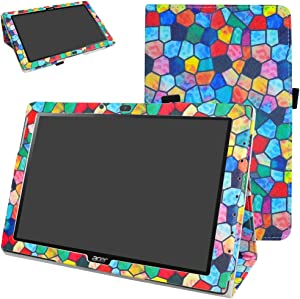 """Acer Iconia One 10 B3-A40 Case,Mama Mouth PU Leather Folio 2-Folding Stand Cover with Stylus Holder for 10.1"""" Acer Iconia One 10 B3-A40 Android Tablet,Stained Glass"""
