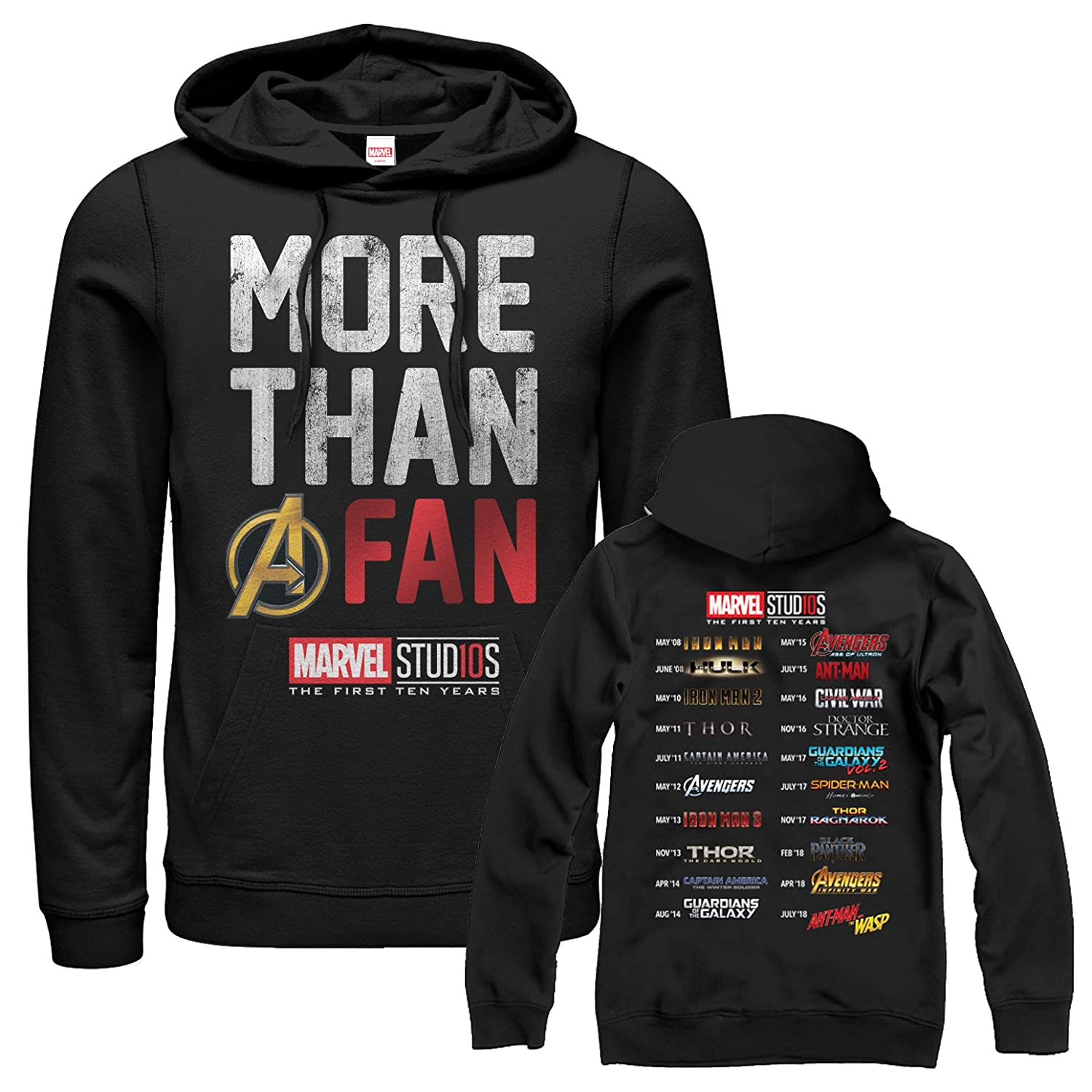 b3518a079c7 Amazon.com  Marvel Men's 10th Anniversary More Than a Fan Hoodie  Clothing