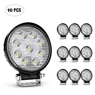 Nilight Led Light Bar 10 Pack 4.5inch 27w 3000LM Round Flood Light Pod Off Road Fog Driving Roof Bar Bumper for Jeep SUV Truck Hunters: Automotive