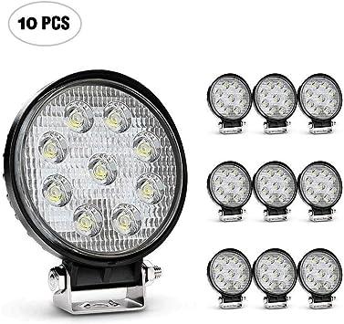 10 PCS 10 PACK 27W 4 Inch Round Flood Light Led Work Off Road Fog Driving Lamp
