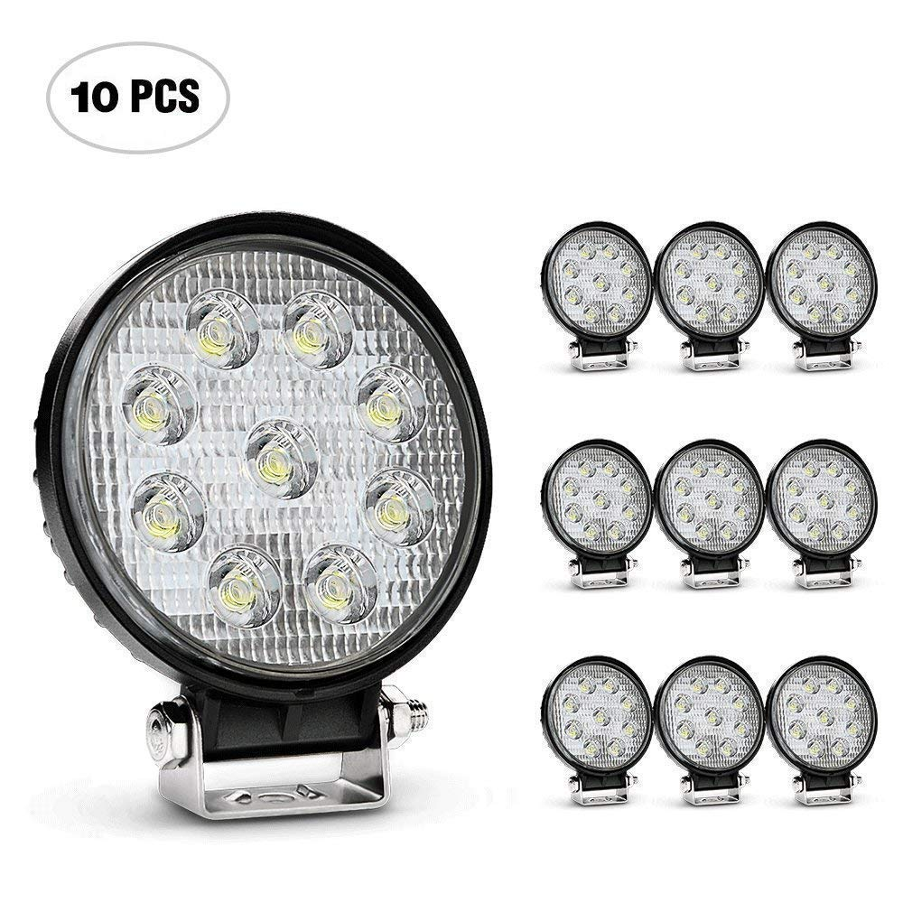 Nilight 10pack 4inch 27W Flood Round LED Work Light Fog Light Waterproof Offroad Driving Led light for Jeep SUV Boat Truck ATV Car,2 year Warranty 4350385646