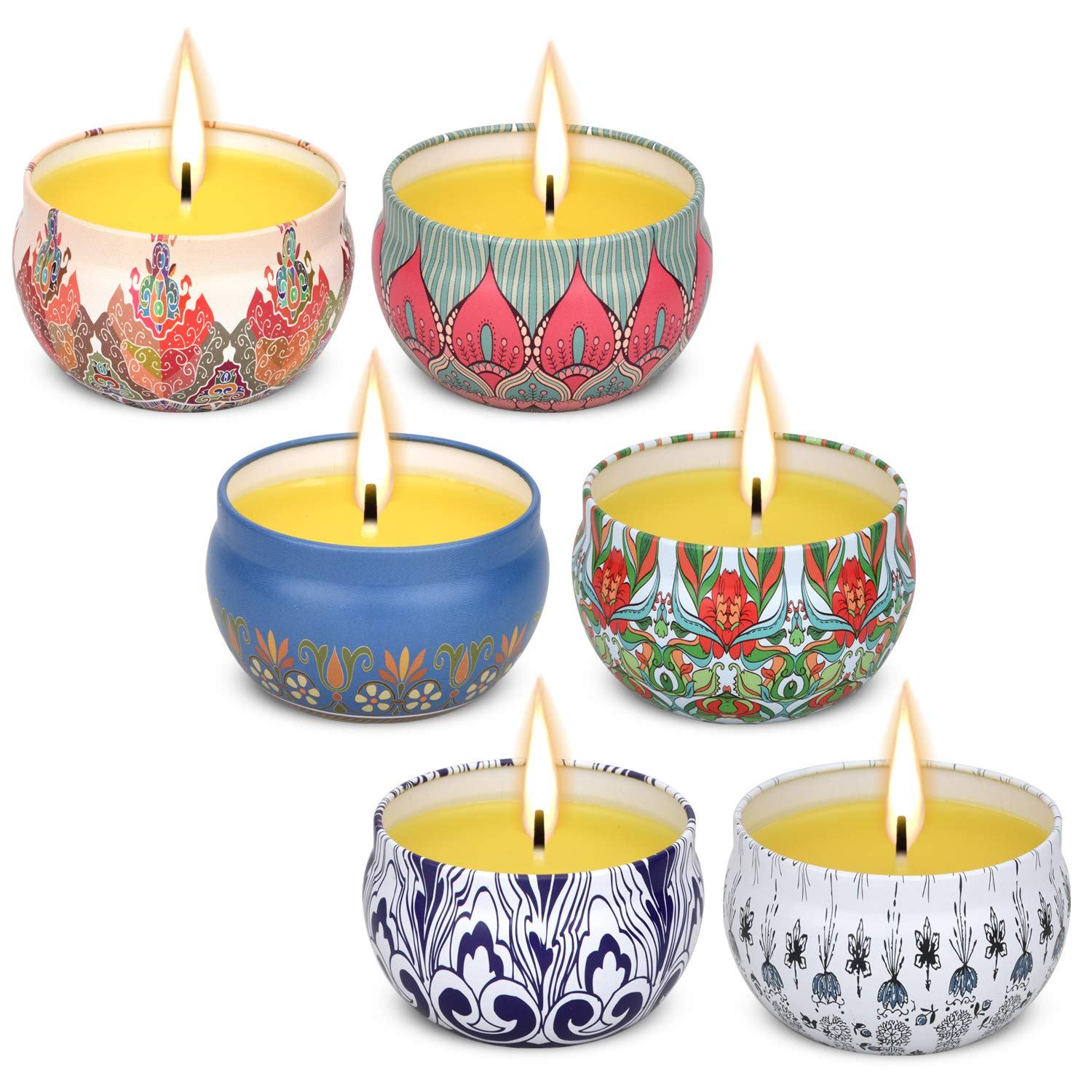 Vickiss Citronella Scented Candles Set 6 Natural Soy Wax Travel Tin 2.5oz, Outdoor and Indoor