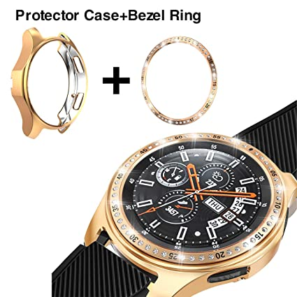 [2 Pack] JZK Samsung Galaxy Watch 46mm/Gear S3 Frontier & Classic Bezel Ring,Adhesive Cover Anti Scratch & Collision Protector Bezel Loop + Protector ...