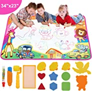 dmsbuy Aqua Drawing Mat for Kids - Water Painting Writing Doodle Toy - Large Color Aqua Magic Mat Bring Magic Water Pens Educ