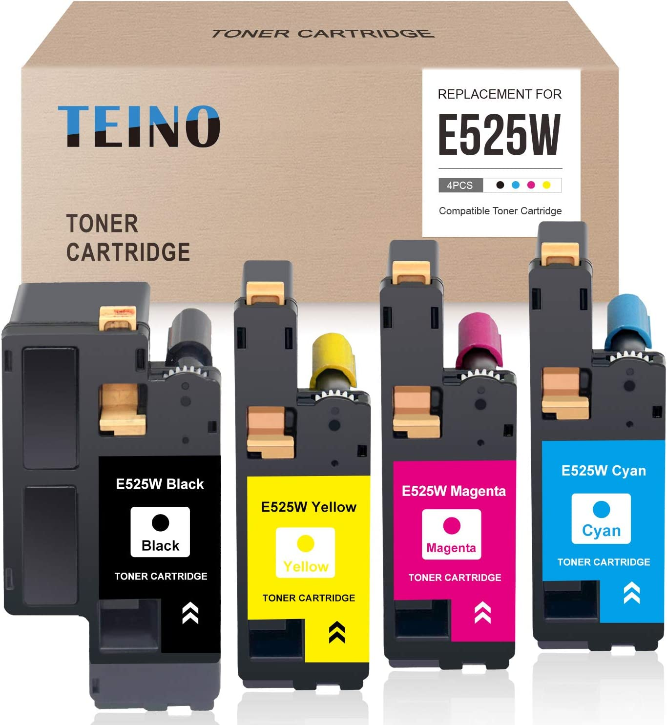 TEINO Compatible High Yield Toner Cartridge Replacement for Dell E525W E525 525W ues with Dell E525W Wireless Color Printer (Black, Cyan, Magenta, Yellow, 4-Pack)