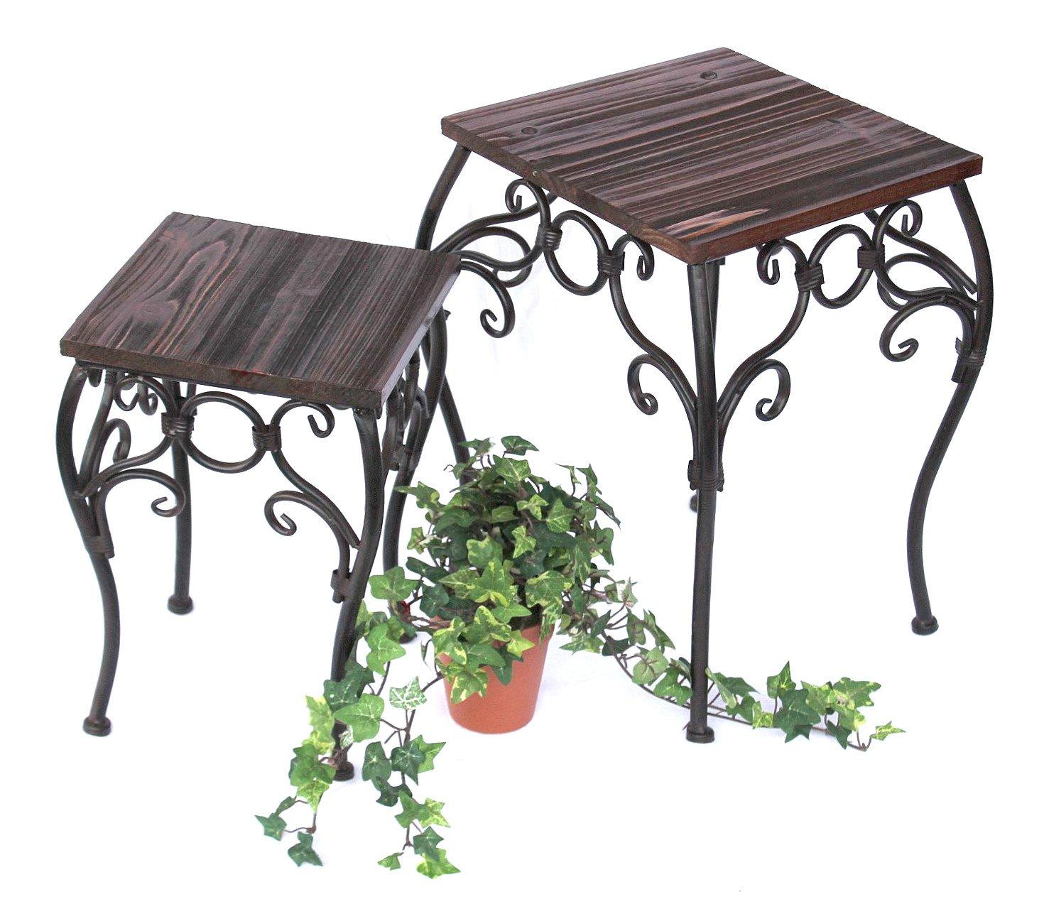DanDiBo Blumenhocker 2er Set 12593 Blumenständer 34, 43 cm Eckig Blumensäule Tisch