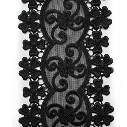 Amazoncom Black Venise Floral Embroidered Lace Trim 4 Inch Wide By