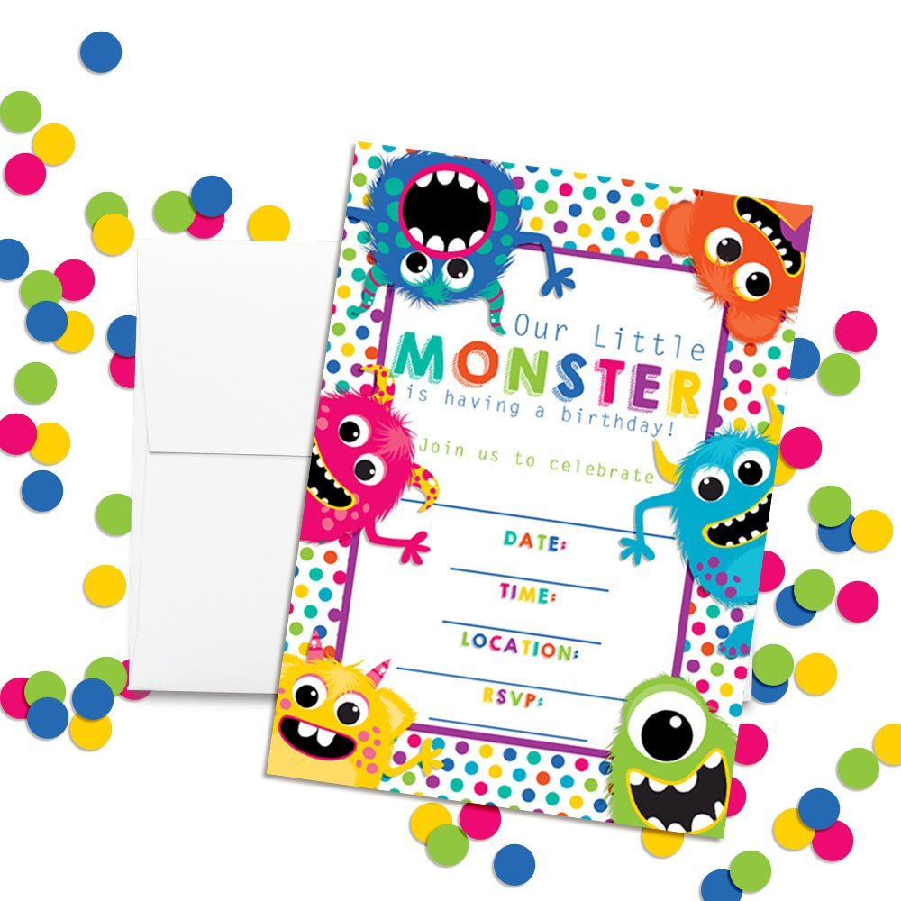 Colorful, Cute & Friendly Monsters Birthday Party Invitations, 20 5''x7'' Fill in Cards with Twenty White Envelopes by AmandaCreation by Amanda Creation (Image #2)