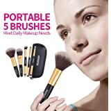 Makeup Brush Set, 5pcs Premium Cosmetic Brushes for Foundation Blending Blush Concealer Eye Shadow, Cruelty-Free Synthetic Fiber Bristles, PU Leather Makeup Bag Included, Golden