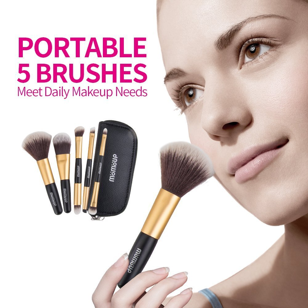 Makeup Brush Set, 5pcs Premium Cosmetic Brushes for Foundation Blending Blush Concealer Eye Shadow, Cruelty-Free Synthetic Fiber Bristles, PU Leather Makeup Bag Included, Golden OLAXER B01LX0X3FR