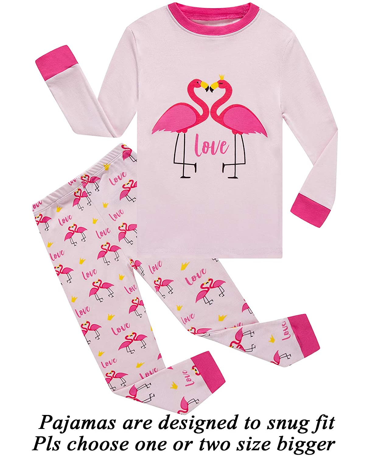 Little Girls Pajamas 100% Cotton Long Sleeve Pjs Toddler Clothes Kids Sleepwear Shirts 66lanseowl47