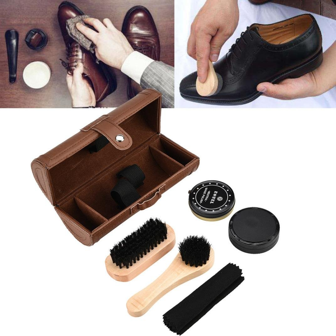 Shoe Care Kit, Brush Cleaner 6-Piece Travel Shoe Shine Brush Kit with Case Shoe Bucket, Polish, Brushes, Sponge Cloth (Brown)