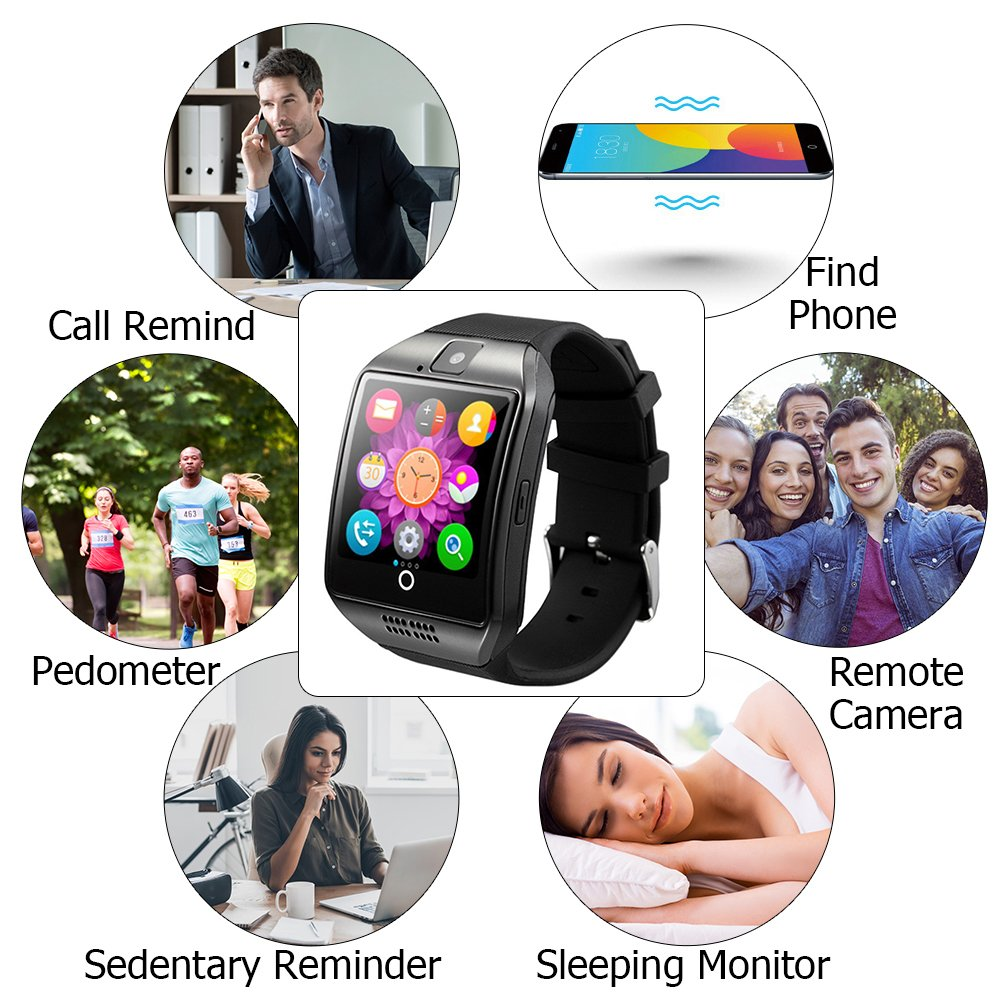 Bluetooth Smart Watch,gearlifee Android IOS Curved-Screen Smartwatch Smartphone Fitness Tracker Watch for Men,with Camera,SIM TF Card Slot,Pedometer,Sleep Monitor for iPhone,Sumsang,Huawei,Sony,LG,Google,HTC,Xiaomi(Black)