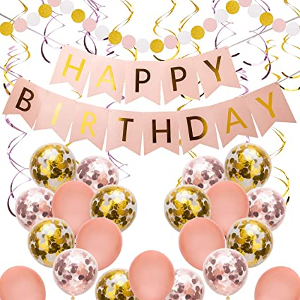Amazon Com Savita Pink And Gold Happy Birthday Party Decoration Supplies For Girls Women With Happy Birthday Banner Hanging Swirls Confetti Balloons Latex Balloons Toys Games