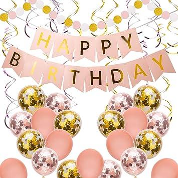 SAVITA Rosa y Oro Fiestas de Cumpleaños Decoracion Guirnalda Feliz Cumpleaños Kit para Niñas, Mujeres con Pancarta de Happy Birthday , Remolinos ...