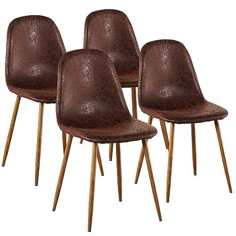 Amazon.com: Juego de 4 patas de metal Eames para sillas de ...