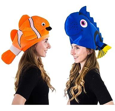Tigerdoe Fish Hats - Clown Fish Hat - Tropical Fish Hat - Costume Hats -  Under The Sea Party Hats (2 Pack)