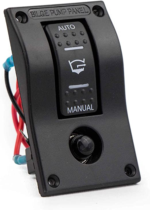 12V Dual LED Rocker Bilge Pump Switch Panel Circuit Breaker RV Auto Off Manual