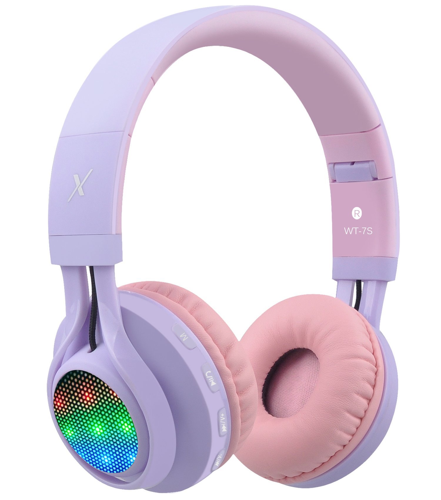 Riwbox WT-7S Bluetooth Headphones Light Up, Foldable Stero Wireless Headset with Microphone and Volume Control for PC/Cell Phones/TV/ iPad (Purple)
