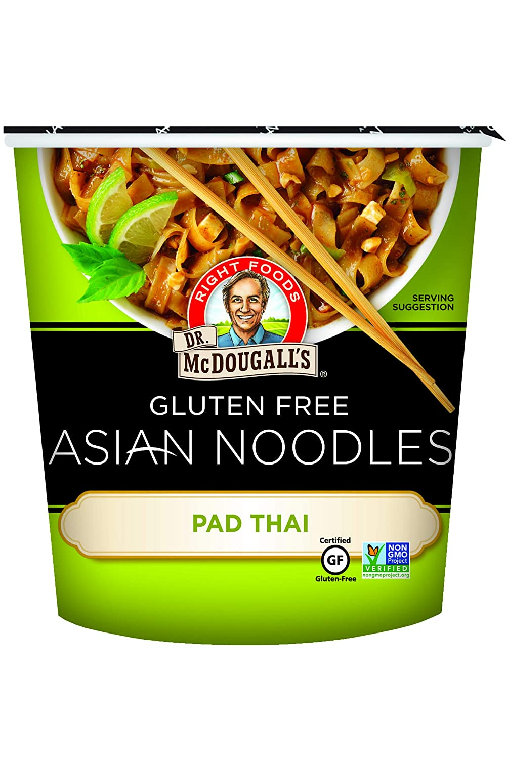 Dr. McDougall's Right Foods Asian Entree Pad Thai Noodle, 2 Ounce Cups (Pack of 6) Gluten-Free, Non-GMO, No Added Oil, Paper Cups From Certified Sustainably-Managed Forests