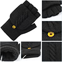 USB Guantes con Calefacción Mitten Full and Half Hands Warm Laptop Gloves Winter Warm Knitted Gloves Mitten with Finger…