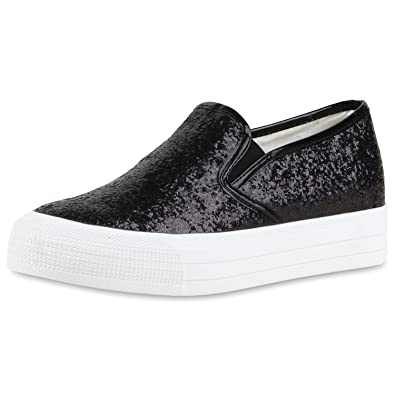 Japado Modische Damen Sneakers Bequeme Slip-Ons Funkelnde Glitzerapplikationen Angesagte Plateausohle Damen Sneakers Neonpink Weiss 37 vpZ7xudoop