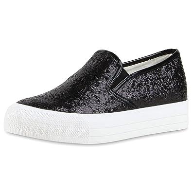 Japado Modische Damen Sneakers Bequeme Slip-Ons Funkelnde Glitzerapplikationen Angesagte Plateausohle Damen Sneakers Dunkelrot 38 u3EAIS
