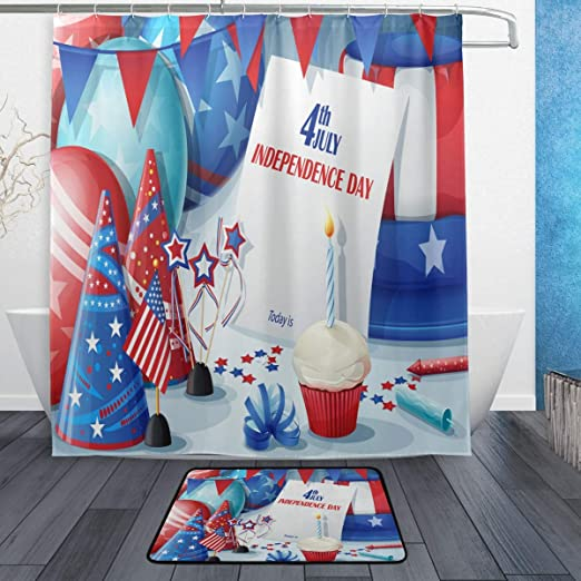 Patriotic Shower Curtain Fabric Decor Set with Hooks 4 Sizes