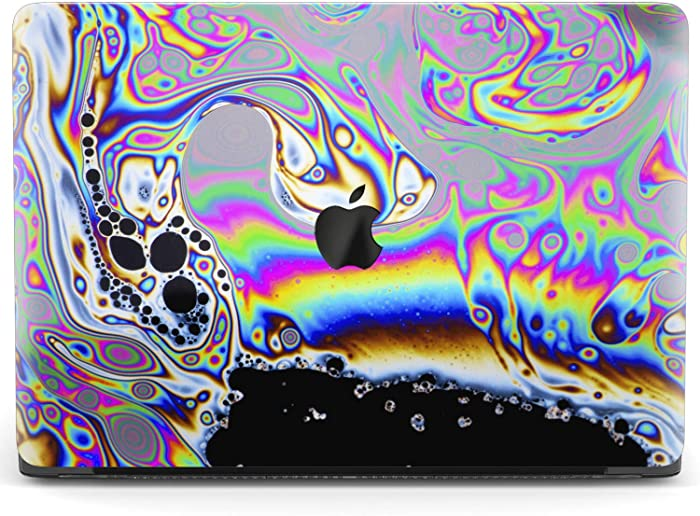 Mertak Hard Case for Apple MacBook Pro 16 Air 13 inch Mac 15 Retina 12 11 2020 2019 2018 2017 Psychedelic Trippy Design Protective Touch Bar Print Plastic Clear Liquid Glitch Art Laptop Oil Slick