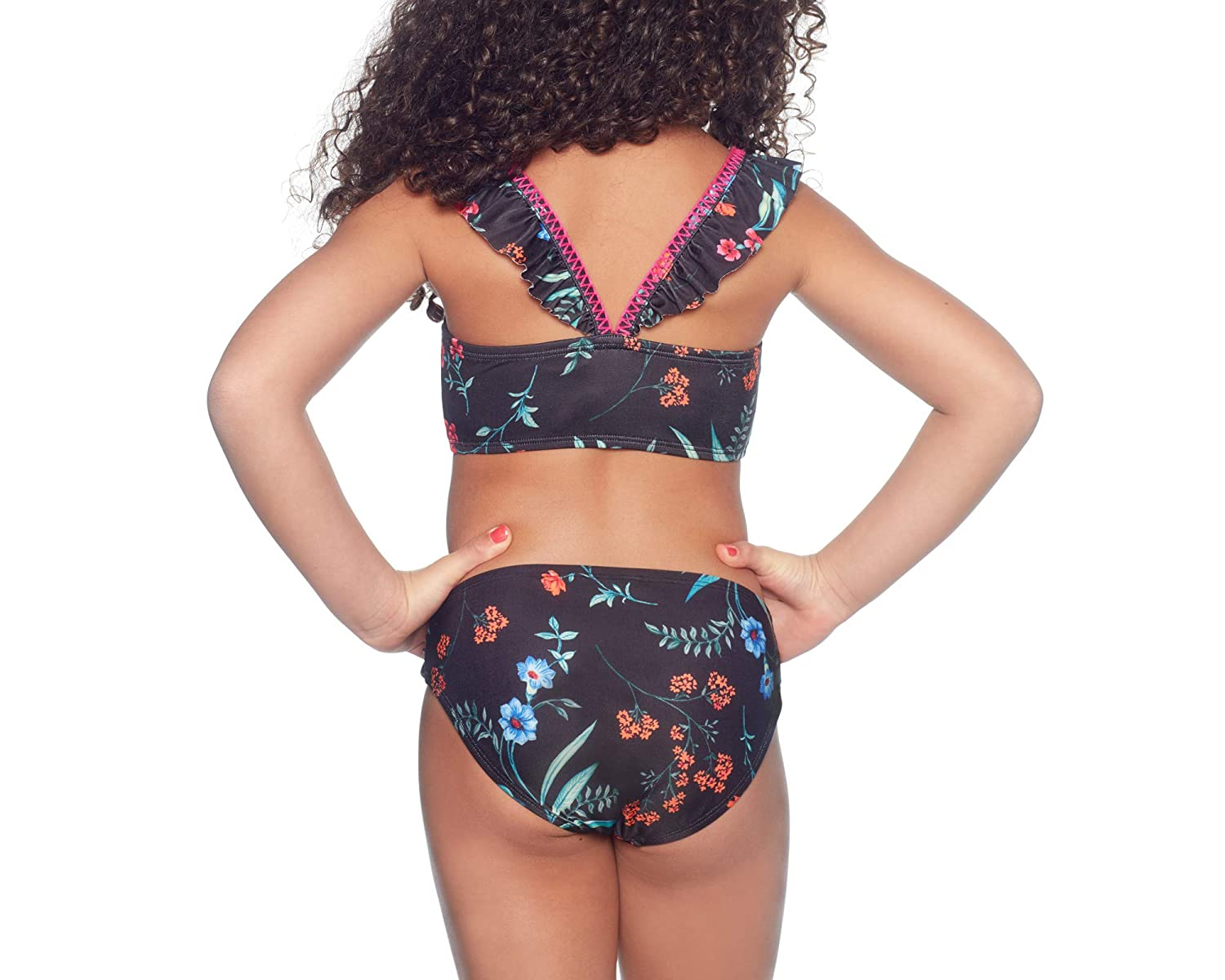 ALYNED TOGETHER Girl/'s Bikini with Square Neck top and Shirred Side Tab Hipster Bottom