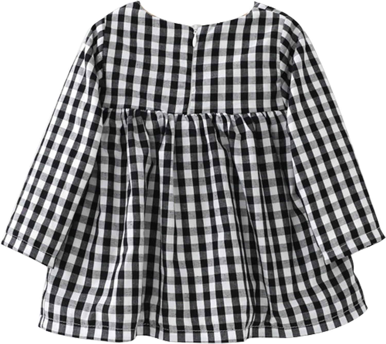 Chic-Chic Mini Robe Fille B/éb/é Longues Manches Velours Chaud Carreau Vintage Pincesse