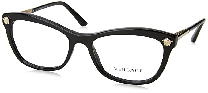 Amazon.com: Versace VE3224 Eyeglass Frames GB1-54 - Black VE3224-GB1 ...