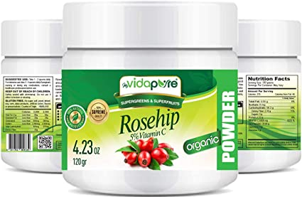Amazon Com Vitamin C Rosehip Powder Pure Raw Superfood 4 23 Ounces 120 Grams By Myvidapure Health Personal Care
