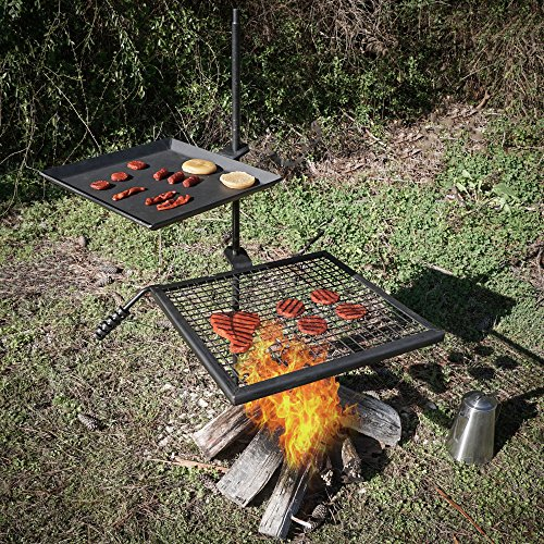 Titan Campfire Adjustable Swivel Grill Fire Pit Cooking ...