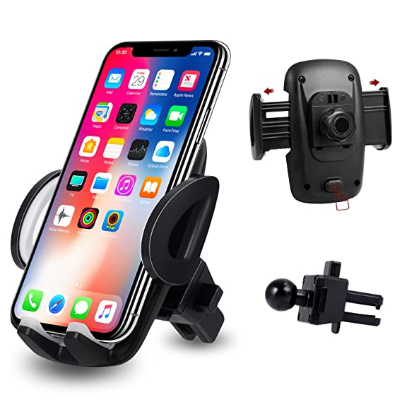 buy online 5b80f 72ccf Car Phone Mount, Amoner Universal Car Air Vent Mount Phone Holder Cradle  for iPhone X/8/8Plus/7/7Plus/6S/5S, Samsung Galaxy, LG, Google, and More ...