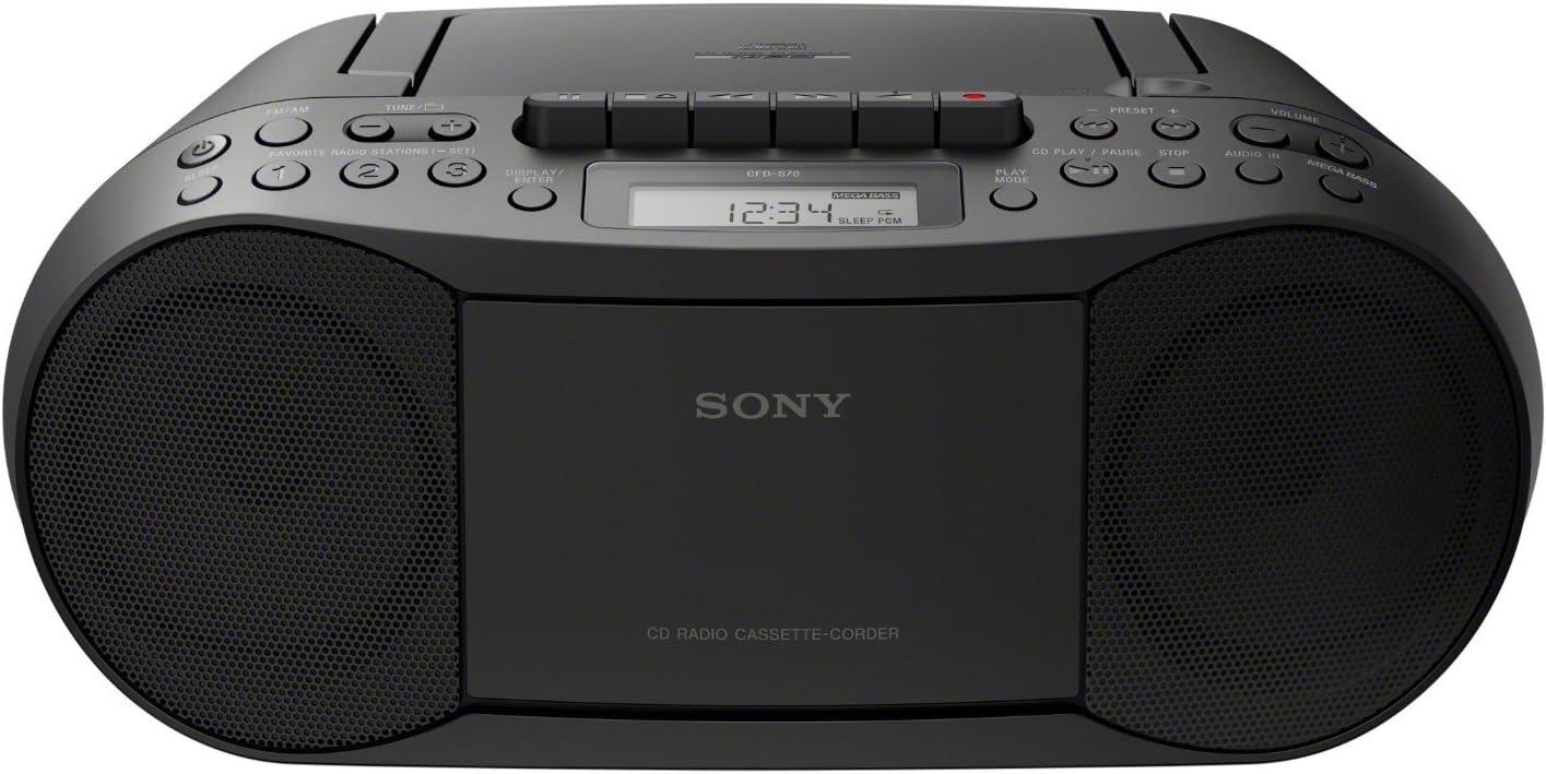 Sony Cfd S70 Boombox Cd Kasette Radio Schwarz Sony Audio Hifi