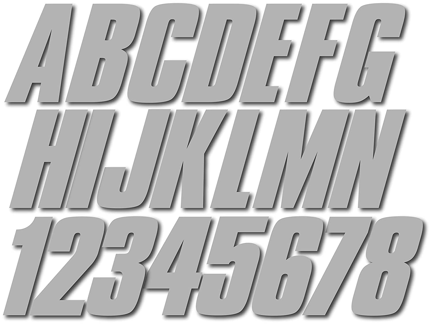 Stiffie Shift Silver 3 ID Kit Alpha-Numeric Registration Identification Numbers Stickers Decals for Boats /& Personal Watercraft