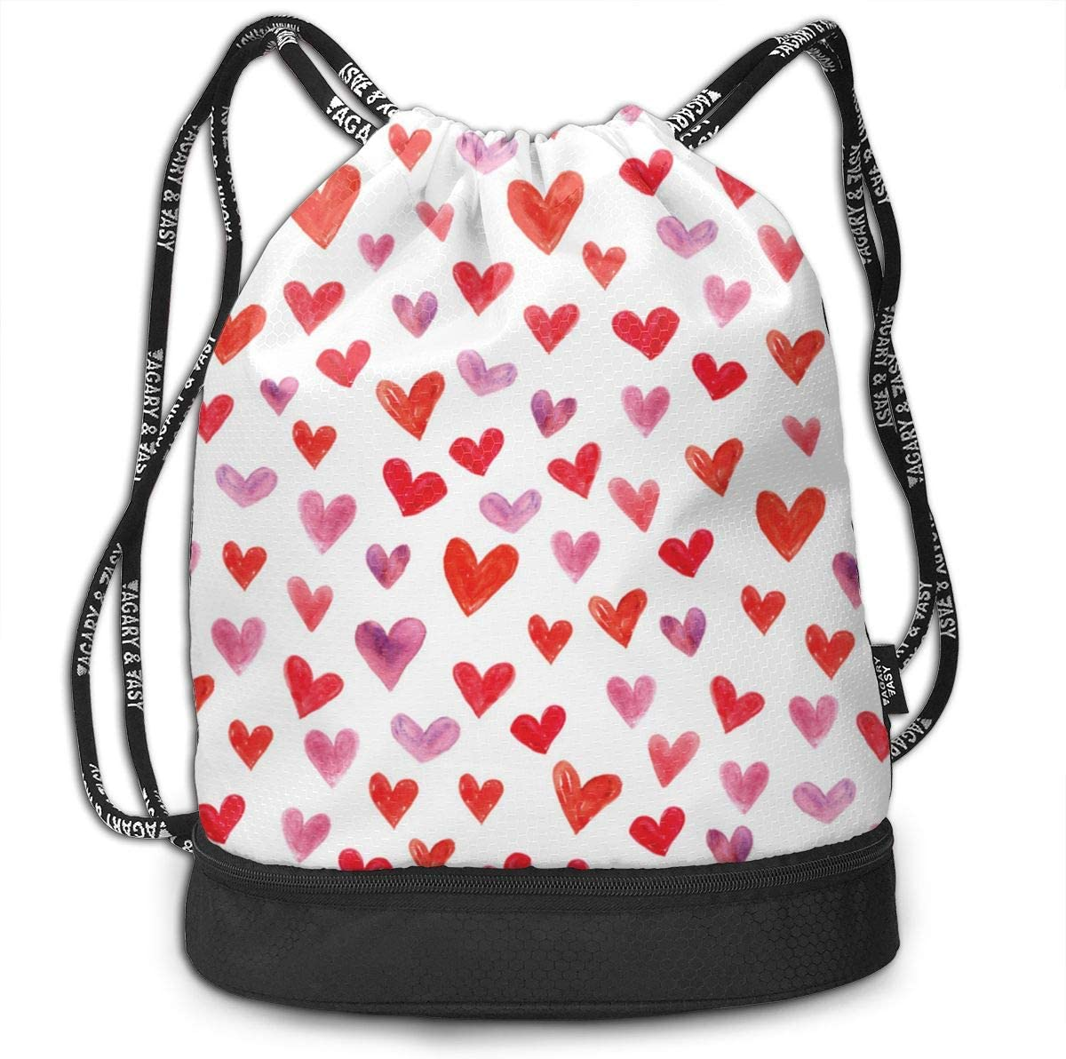 HUOPR5Q Red Hearts Drawstring Backpack Sport Gym Sack Shoulder Bulk Bag Dance Bag for School Travel