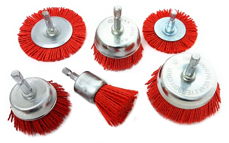 Nylon Filament Abrasive Wire Brush Kit for Drill (Set of 6) LINE10 tools L10-63128