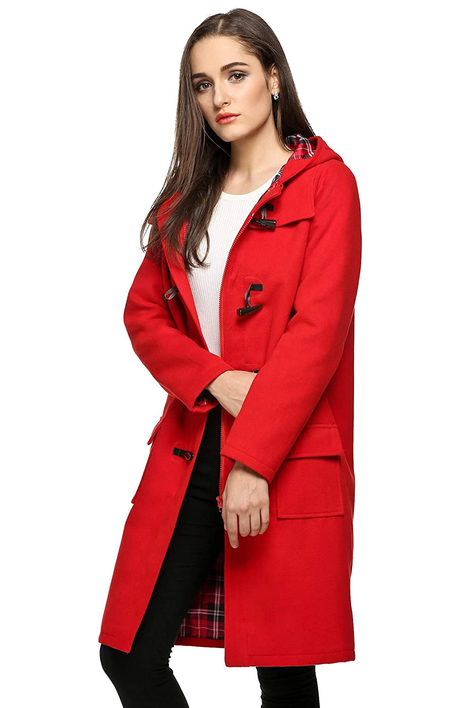 920d67e5197d8 Finejo Women s Hoodie Fleece Jacket Duffle Style Toggle Wool Coat Pea Coat   Amazon.co.uk  Clothing