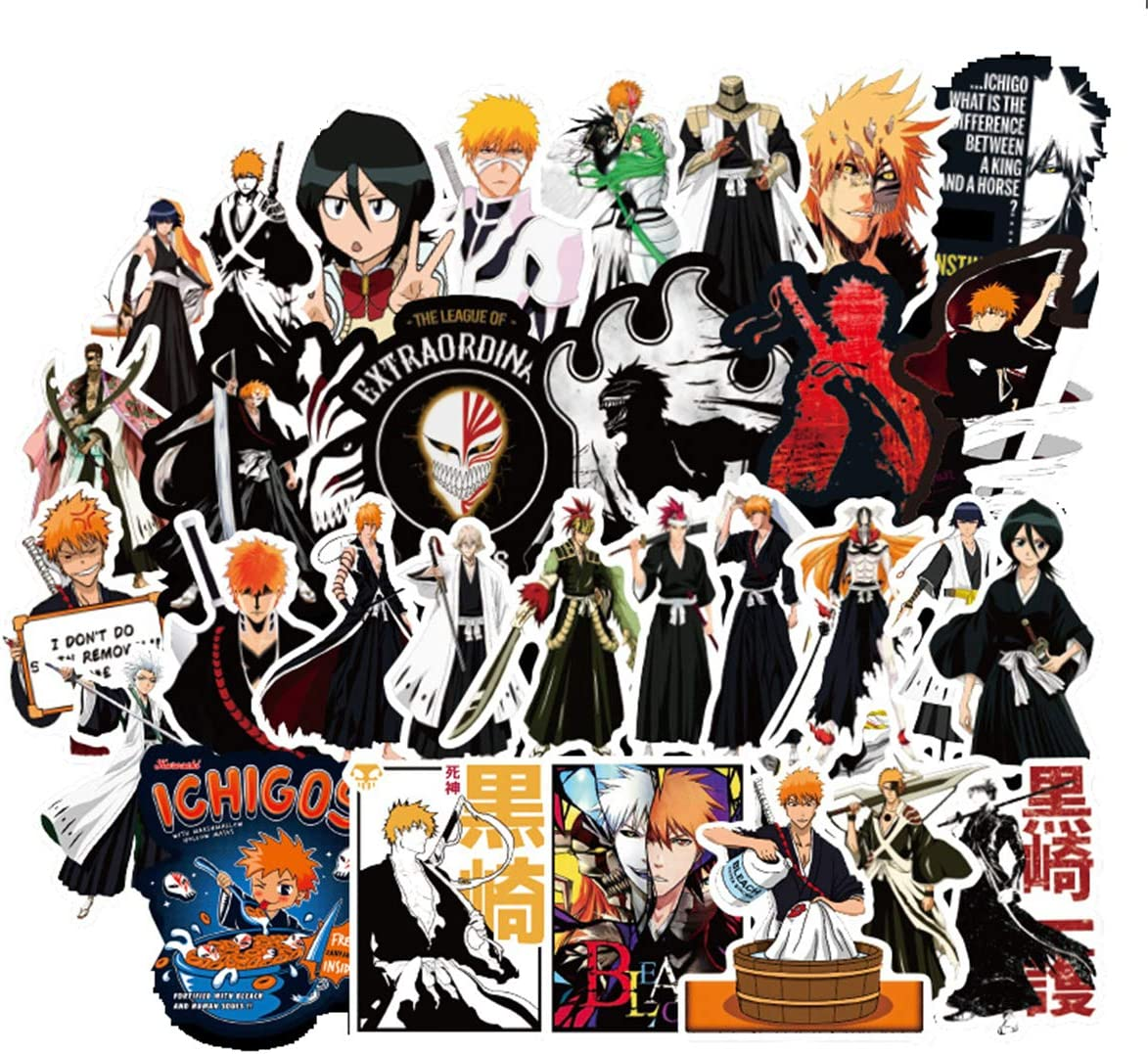 Bleach Waterproof Stickers/Decals (50 pcs) of Japanese Anime Cartoon for Laptop Skateboard Water Bottle Phone Car Bicycle Luggage Guitar Computer PS4 (Bleach)