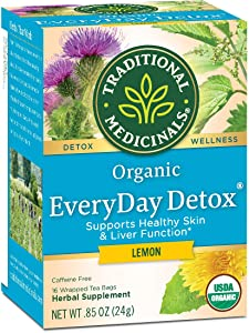 Traditional Medicinals Organic EveryDay Detox Lemon Detox Tea, 16 Tea Bags, Pack of 6