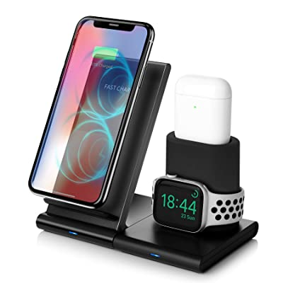 Wireless Charger,7.5W Fast Wireless Charging Stand Compatible iPhone 11/11 Pro/11 Pro Max/XS Max/XS/XR/X/8/8+,Charging Dock Organizer Compatible Apple Watch,AirPods-No AC Adapter