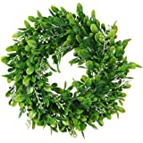 "LSKYTOP 11"" Boxwood Wreath Round Wreath Artificial Wreath Green Leaves Wreath Door Wall Window Decoration"