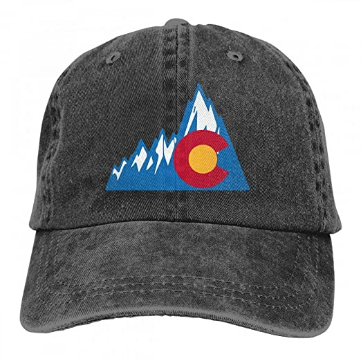af4a061989f Image Unavailable. Image not available for. Color  Colorado State Flag with Rocky  Mens Womens Adjustable Denim Fabric Baseball Cap ...