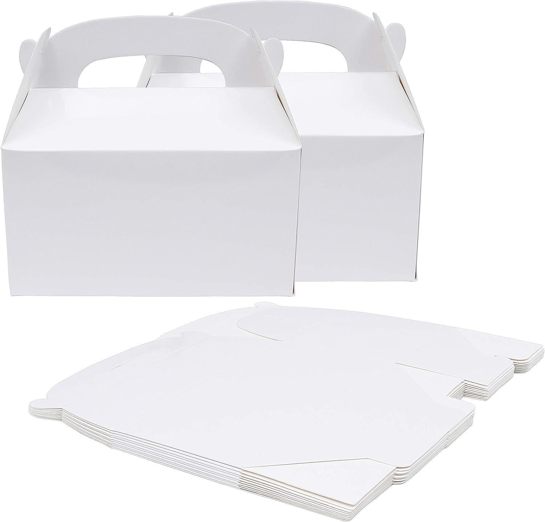 Caja Regalo (Pack de 24) - 15 x 16 x 9.3cm Cajas Regalo Kraft Blanco - Cajitas de Regalo para Niños - Cajita Regalo Personalizado, Baby Shower, Cumpleaños