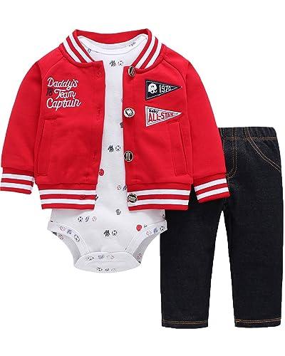 Kidsform Conjuntos Ninos Chaquetas Rompers Mono Bodies Jumpsuit Algodón Pantalones 3 Piez