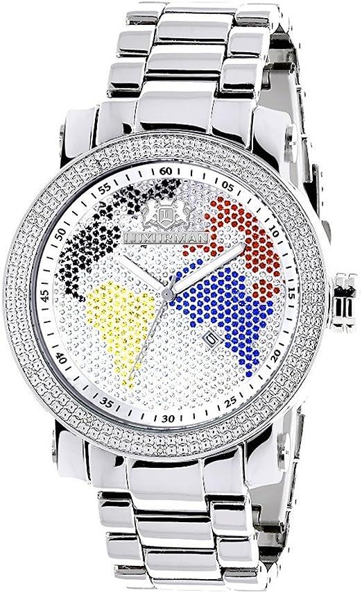 Luxurman World Map Mens Diamond Watch 0.12ct: Amazon.co.uk