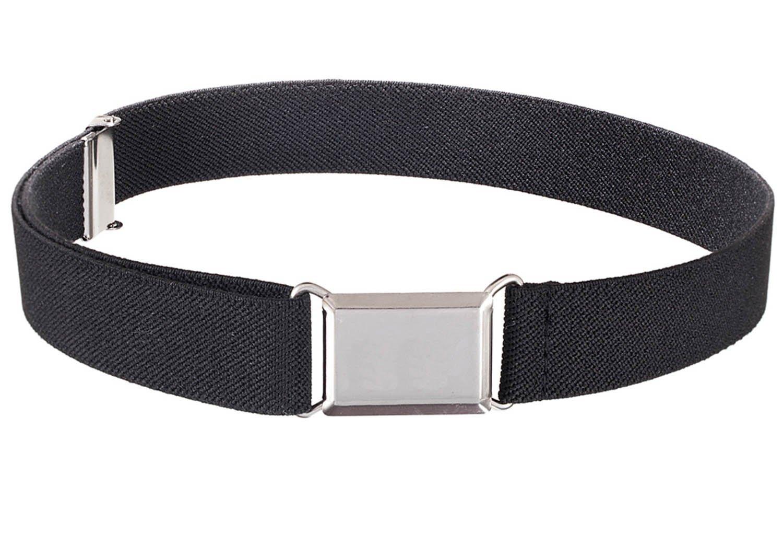 Kids Elastic Adjustable Strech Belt With Silver Square Buckle - Black